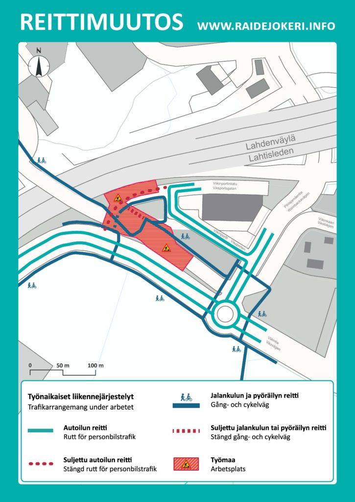 Reittimuutokset Viikinportinkadun alueella karttakuvassa.