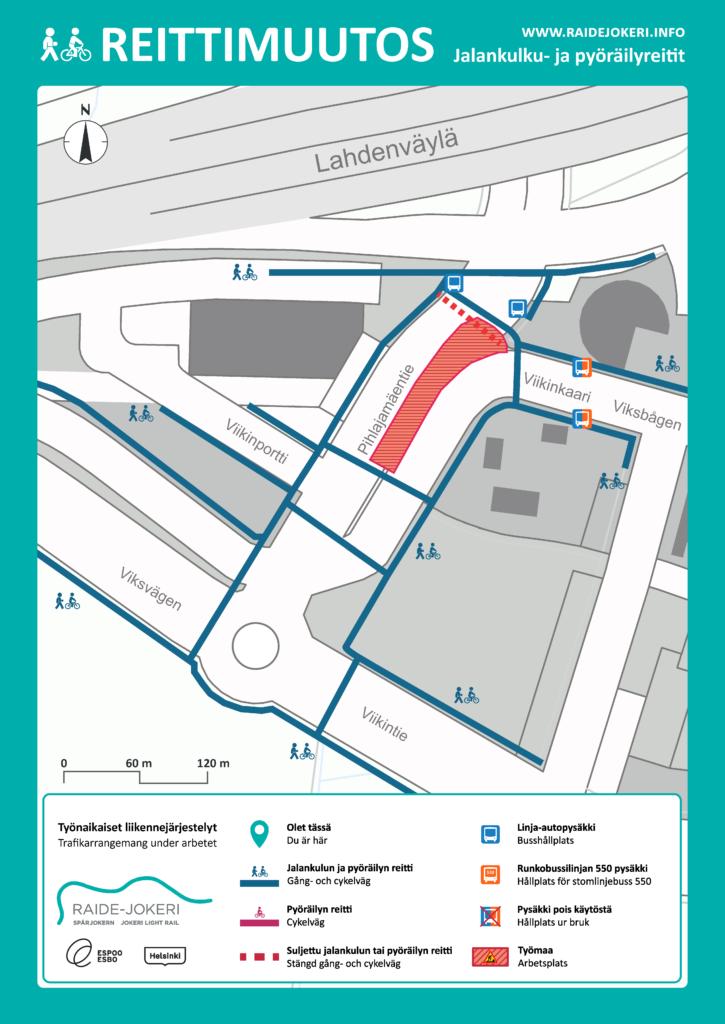 Reittimuutokset Pihlajanmäentien alueella karttakuvassa.