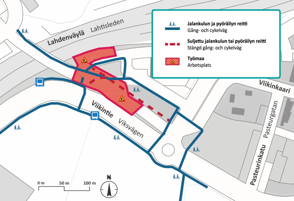 Reittimuutokset Maaherrantien alueella karttakuvassa.