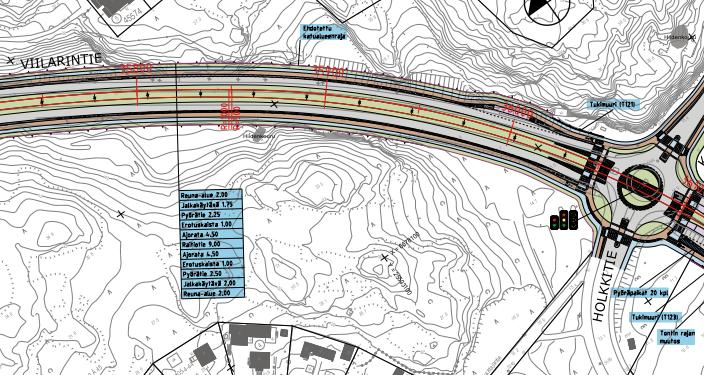 Karttakuva, joka näyttää hankesuunnitelman erillisen keskivaihtoehdon, joka kiertää hiidenkourun.
