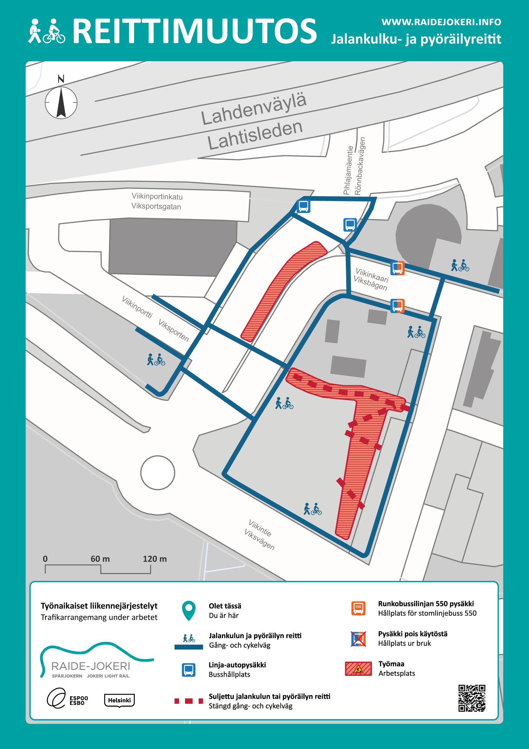 Reittimuutokset Maaherranpuiston alueella karttakuvassa.