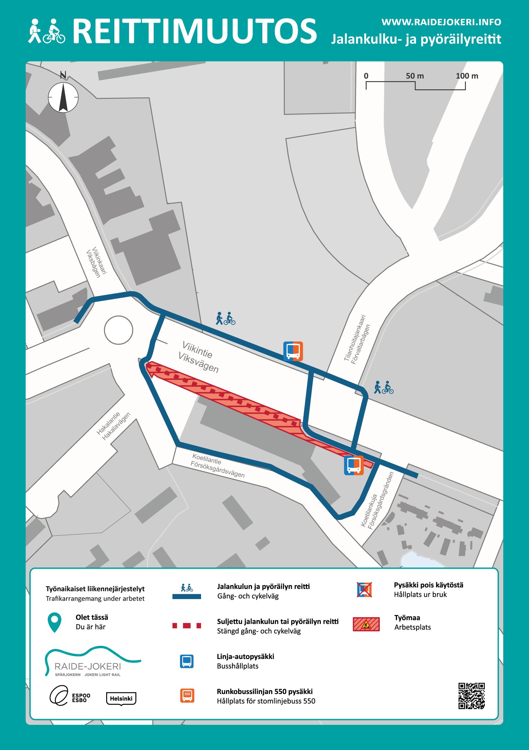 Reittimuutokset Viikinojan alueella karttakuvassa.
