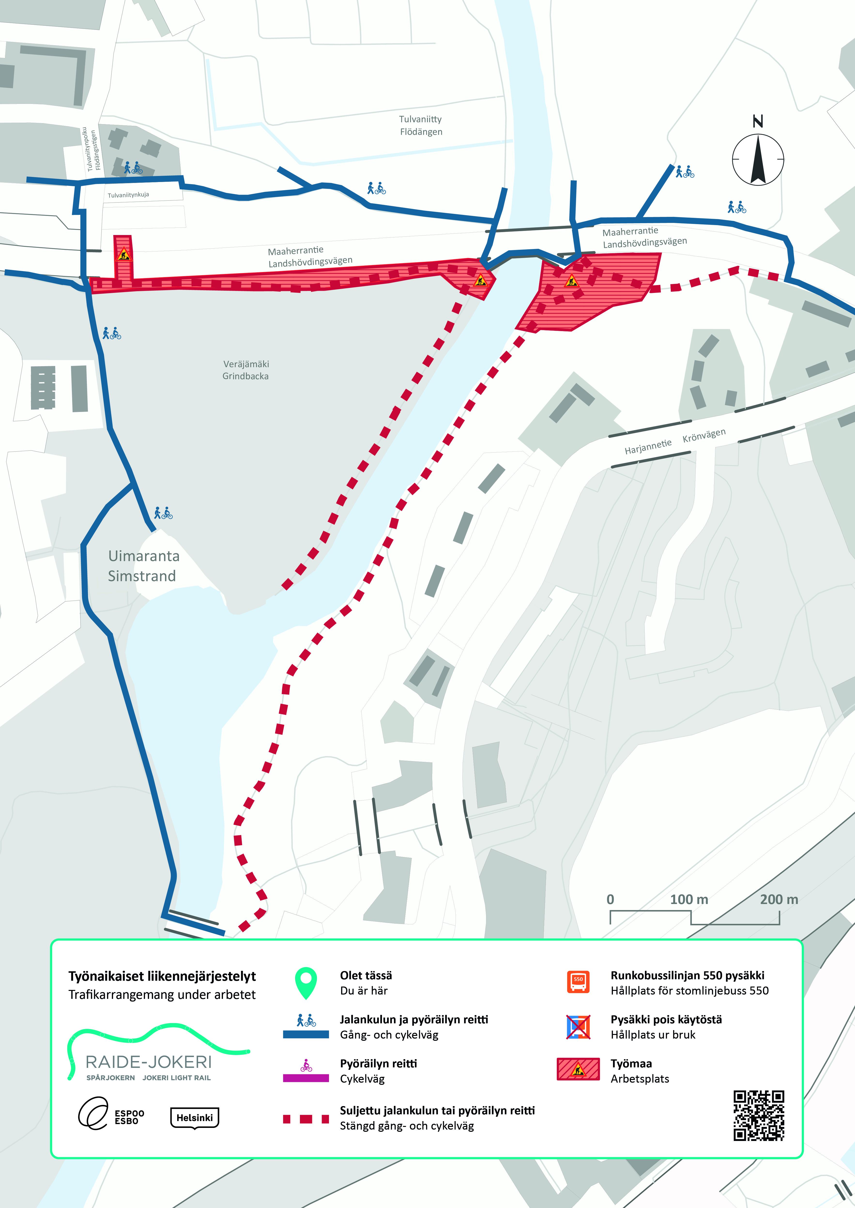 Kartta Vantaanjoen varren liikennejärjetelyistä liittyen Tulvaniitynsillan rakennustöihin