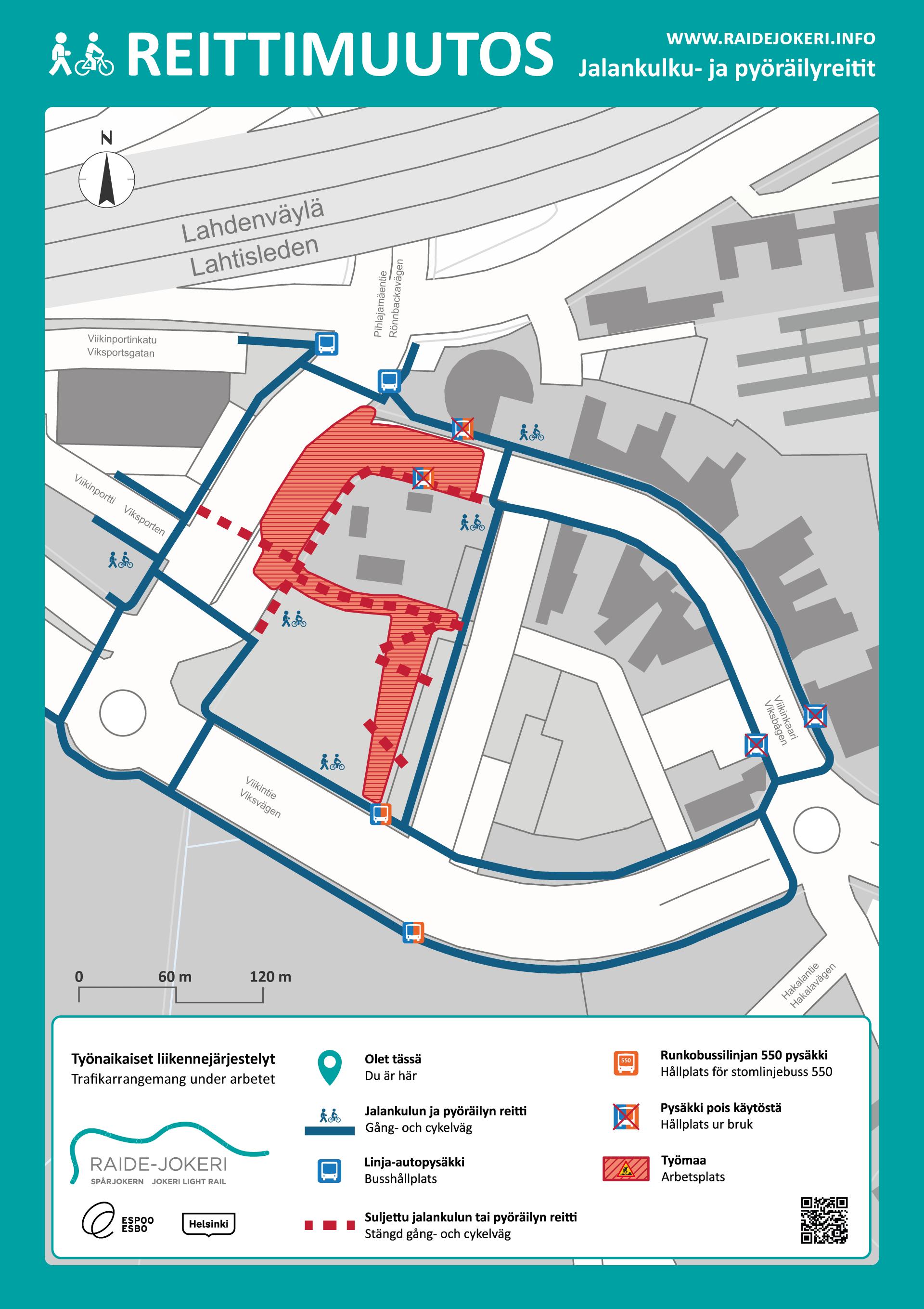 Reittimuutokset Viikinkaaren alueella karttakuvassa.