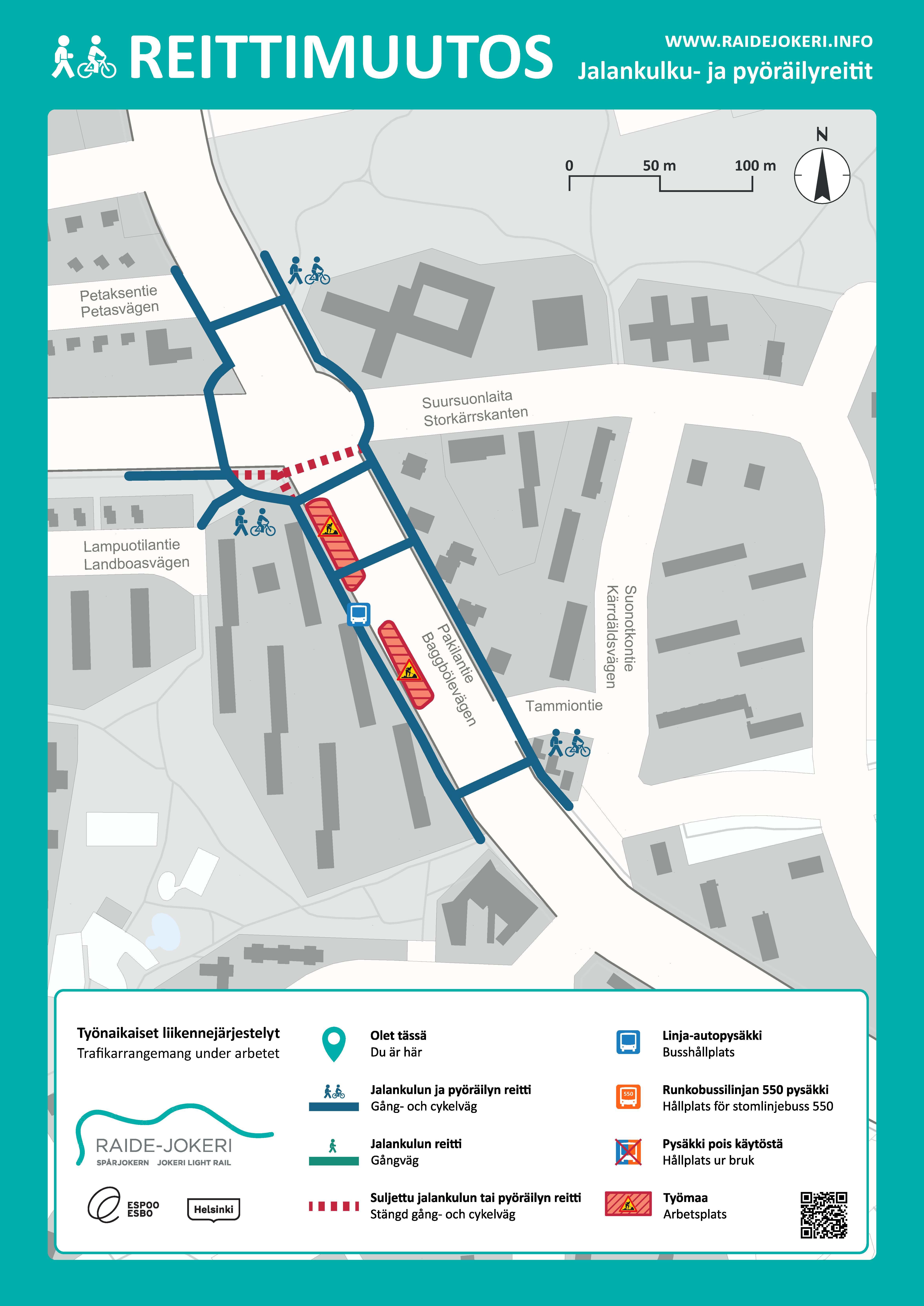 Pakilantien liikennejärjestelyt Pirjontien ja Tammiontien välillä viikosta 10 alkaen.