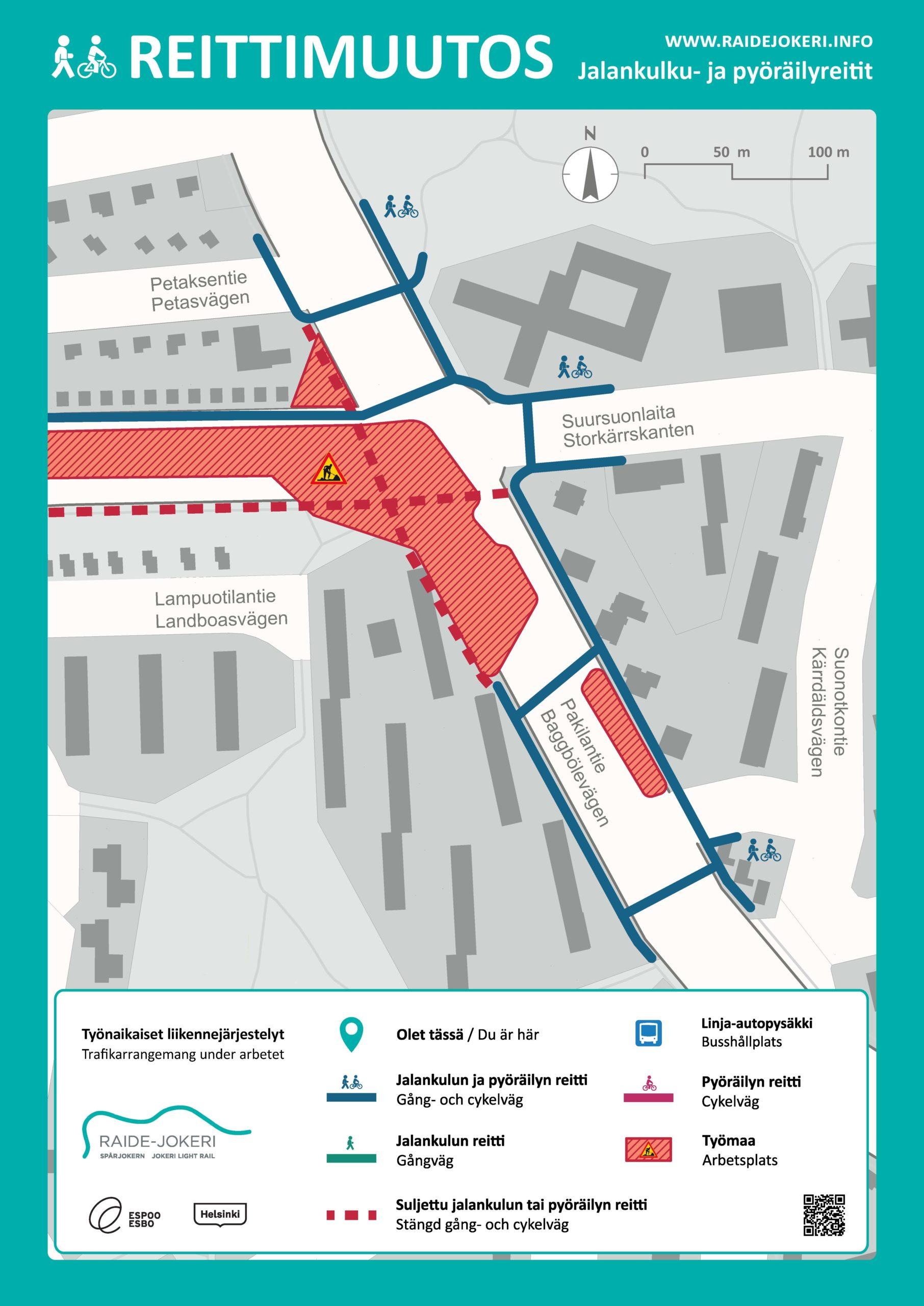 Pakilantien jalankulun ja pyöräilyn reitit Pirjontien ja Tammiontien välisellä osuudella opaskartalla.