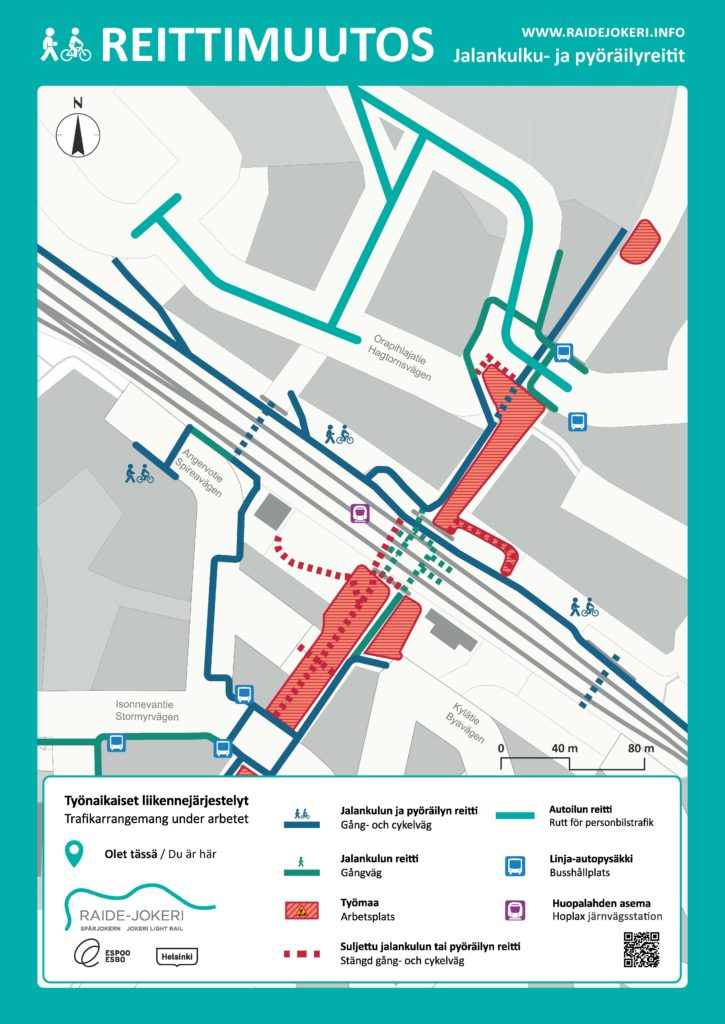 Orapihlajatien liikennejärjestelyt opaskarttakuvassa.