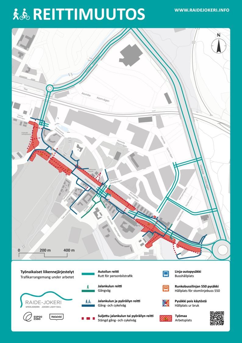 Liikennejärjestelyt Pitäjänmäentien ympäristössä opaskarttakuvassa.