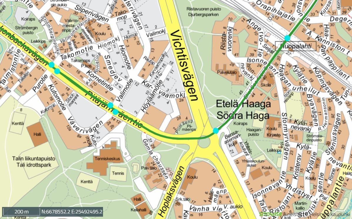 Raide-Jokerin linja kulkee Pitäjänmäentieltä Eliel Saarisen tielle Haagan kiertoliittymän keskeltä, kiertoliittymän pohjoisosassa.
