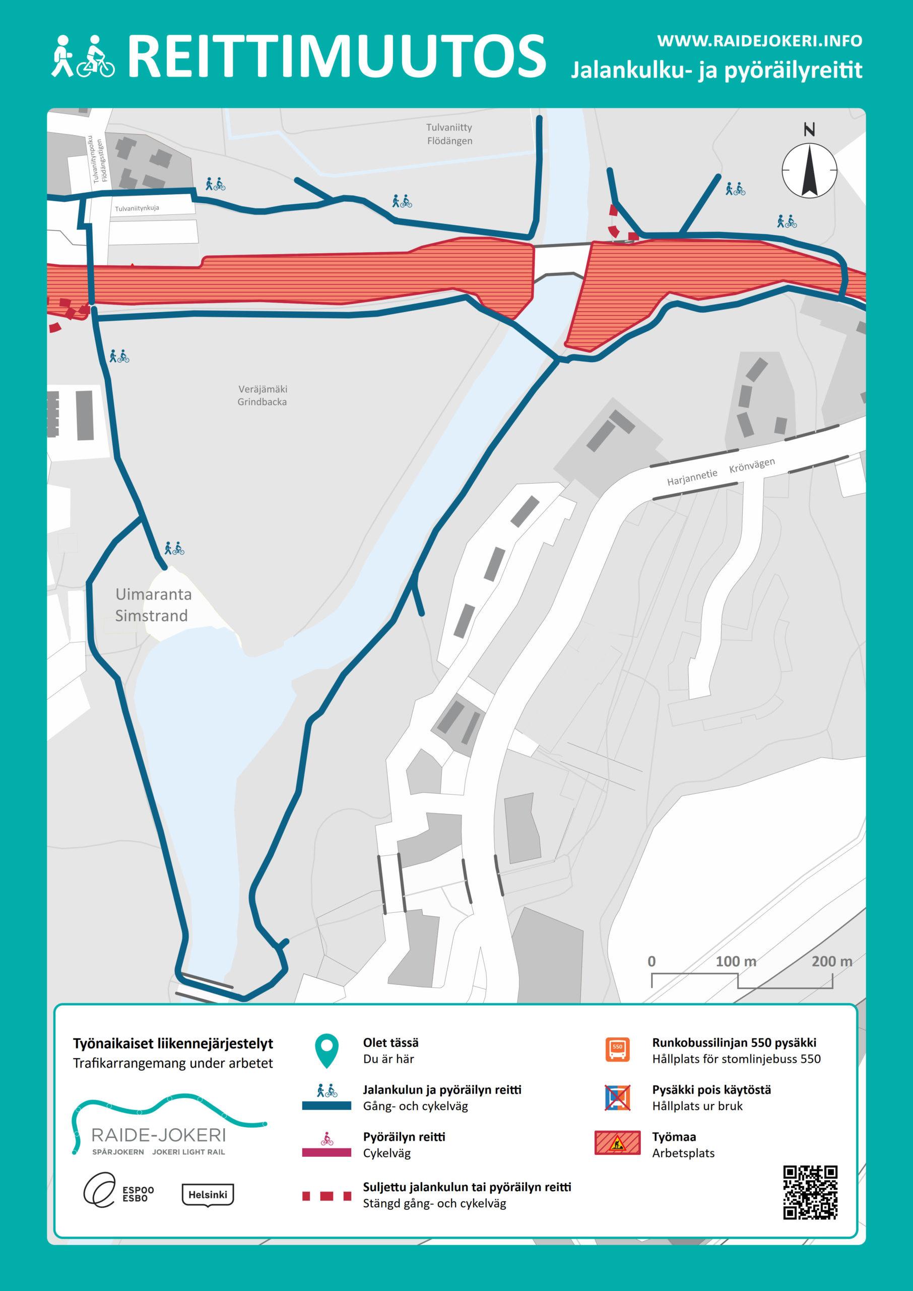 Maaherrantien vanhan rautatiesillan alittava jalankulun ja pyöräilyn reitti Vantaanjoen länsirannalla poistuu käytöstä 1.3.2021.