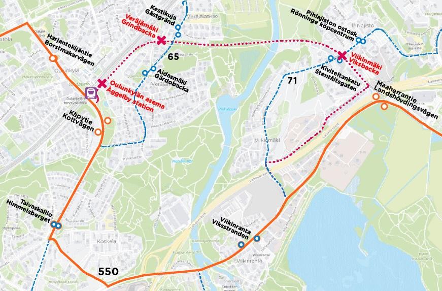Kartta runkolinja 550:n poikkeusreitistä 1.3.2021 alkaen.
