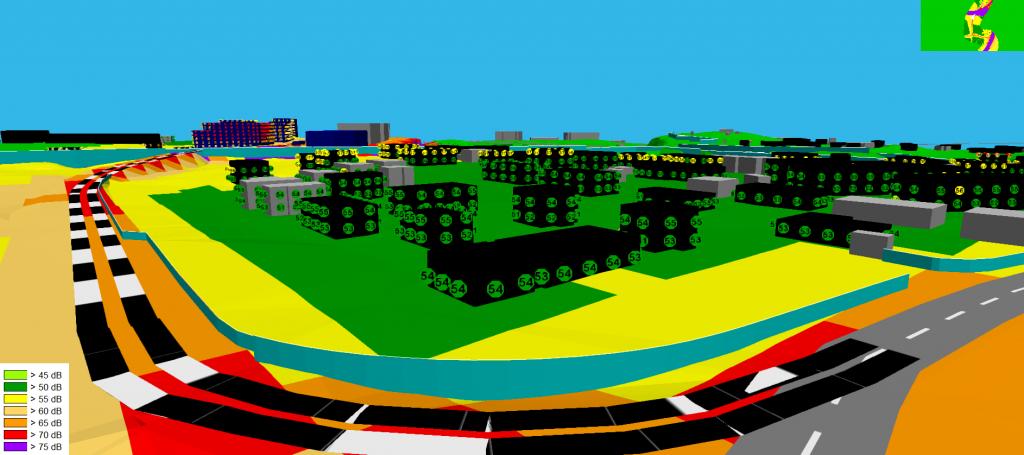 Värikäs tietokonemallikuva, joka esittää melumallinnusta Espoon Kurkijoenpuistosta. Kuvassa on esitetty mallinnetut desibelialueet eri värein.